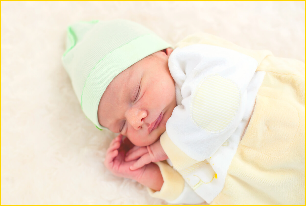 Sleeping Baby with Beanie